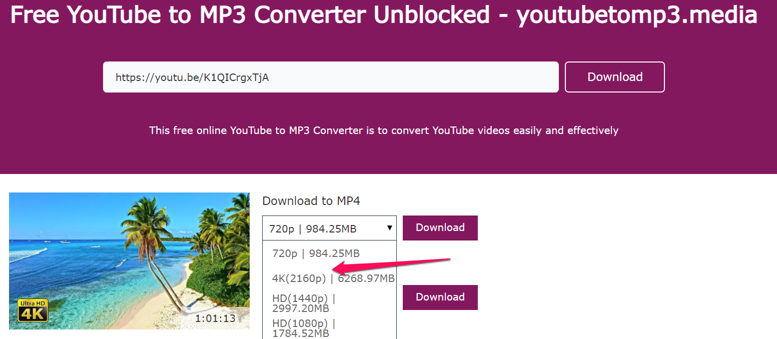 YouTube to mp4 HD converter